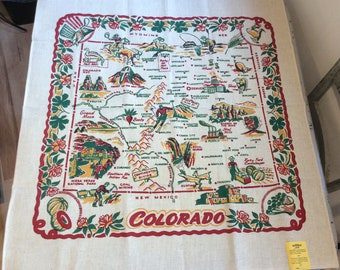 Vintage 1940/'s Old Stock Cactus Cloth New Hampshire State Souvenir Tablecloth