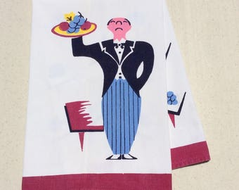 Butler and waitress 1940s vintage embroidered tea towel