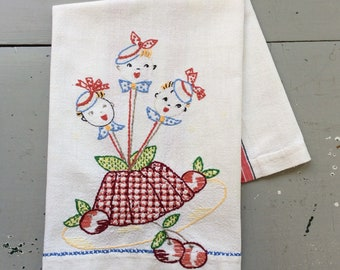 Vintage Towel Navy Blue Home Sweet Home Hubby Washes Dishes Retro Kitchen Funny