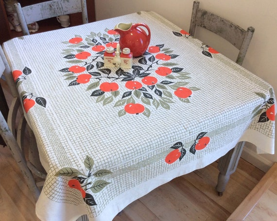 Vintage Wilendur Tablecloth  1950s Tablecloth  Mid Century  Printed Tablecloth  Red Tulips  Retro