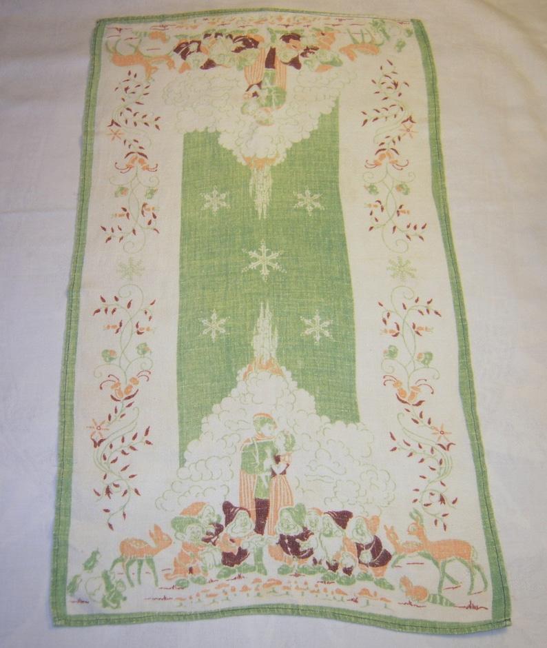 Vintage Snow White Towel Fairy Tale Ending Her Prince Has Come Seven Dwarfs  Disneyana Retro Kitchen