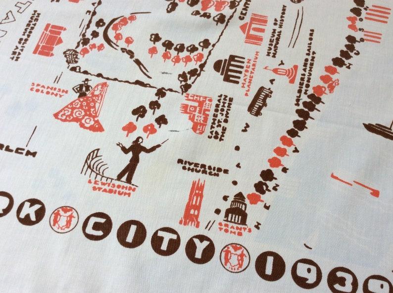 Vintage Souvenir Tablecloth 1939 New York World/'s Fair Era Manhattan Rare Retro Fun