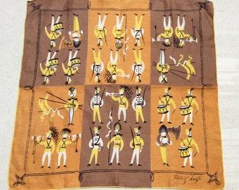 Vintage Tammis Keefe Hankie Military Band Soldiers on Parade Mid Century Retro Ladies Hankies