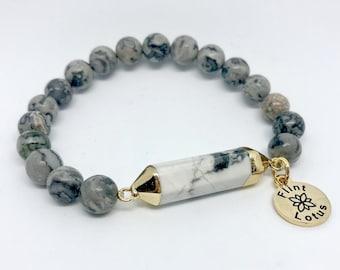 6mm 63Stück Natural Rutilated Quartz Beads Steinperlen #9407 frosted