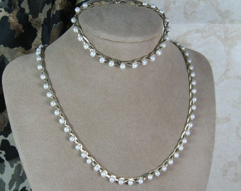 Vintage Petite Braided Chain and Pearls Necklace Bracelet Set REDUCED PRICE