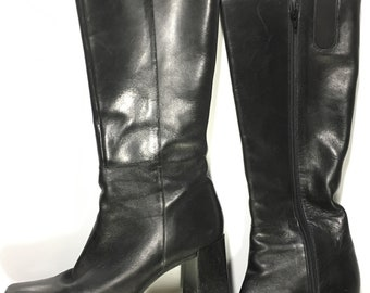 13b90291348b vintage Black Leather Tall Boots with Stacked Wood 3 inch Heel by Nine West  size 8 retro