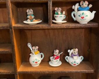 Vintage Christmas Hallmark Tiny Tea Party Mice  miniatures 6 Keepsake 1991