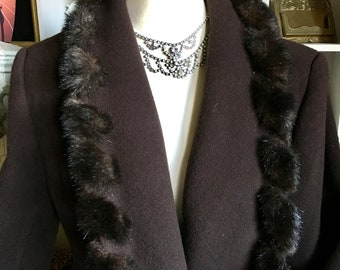 Marvin Richards vintage brown faux fur trimmed  wool coat made in USA SIZE 8