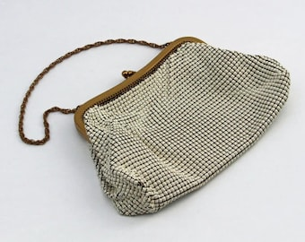 Vintage Cream Whiting & Davis Alumesh Purse 1940's Small Hand Bag with Chain Handle Wedding