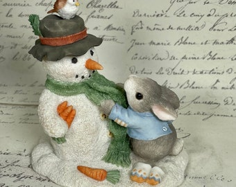 Enesco figurine winter my blushing bunnies Hellman snowman bunny carrot 1996