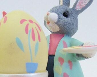 Hallmark Tender Touches Bunny Rabbit Happy Easter Happy Spring Vintage Figurine 1989
