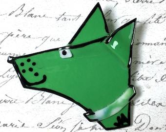 Handmade vintage green dog head pin brooch