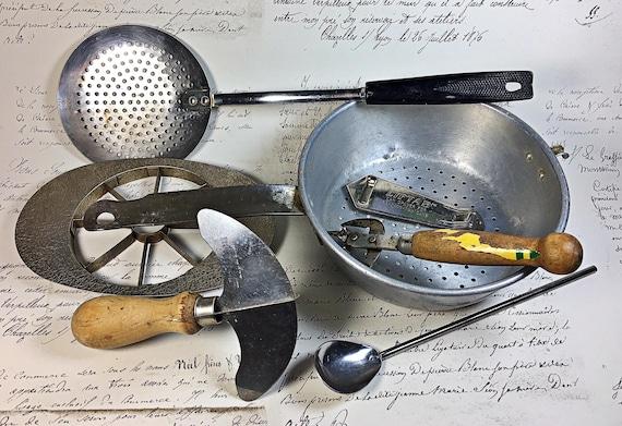 Lot Vintage Kitchen Utensils Gadgets Strainer Spoon Chopper Etsy