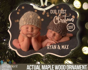 First Christmas twins ornament - babies first christmas ornament twins (or individual) BLX-004-wood