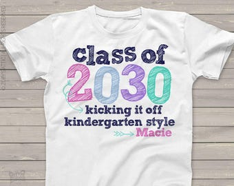 Kindergarten shirt Back to school shirt -  class of 2030 or any year colorful personalized school Tshirt  PINK/PURPLE/NAVY mscl-081