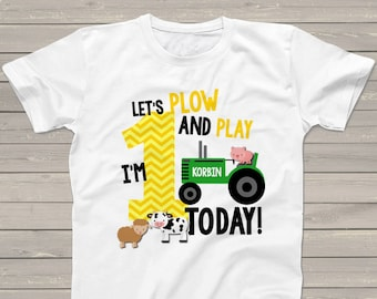 First 1st birthday shirt - green tractor plow and play farm birthday party shirt - with or without farm animals MBD-005