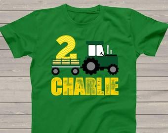 Tractor birthday shirt - green yellow chevron personalized birthday shirt - plow tractor DARK birthday Tshirt MDB-008D