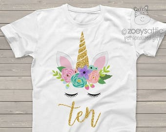 Tenth Birthday Or Any Age Unicorn Face Glitter Tshirt