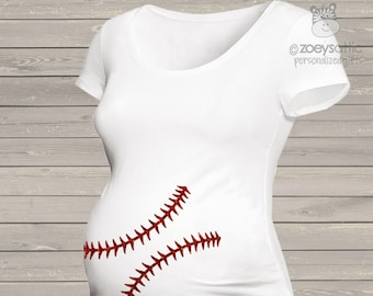 63a3fbf589da4 Sparkly baseball maternity shirt glitter belly custom womens non-maternity  or maternity shirt - fun pregnancy announcement shirt MMAT-039