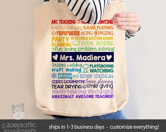 teacher tote bag adorable teacher superpowers tote for preschool kindergarten first grade or any grade great gift for teachers mscl 030n
