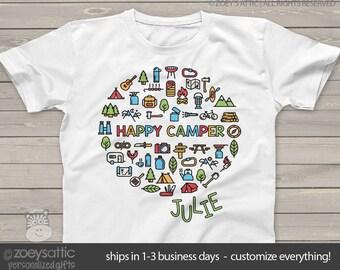 happy camper - kids camping shirt - fun vacation tshirt summer camp MCMP-002