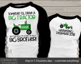 tractor big brother shirt someday i'll drive a big tractor big brother to be  RAGLAN MTRC-002-r