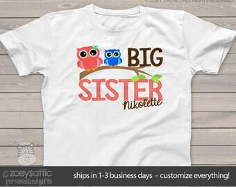 big sister shirt funky owl makes a great big sister to be shirt and gift MOWL1-002-1