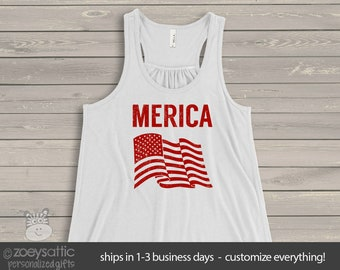 American flag merica flowy tank top- perfect for July 4th festivities  SNLJ-002-f