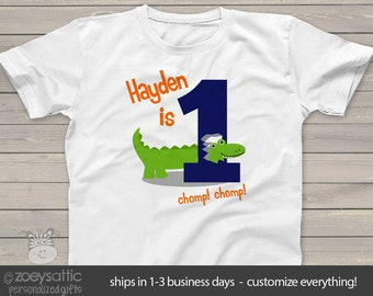 1fb240db3 Personalized childrens 1st birthday alligator crocodile Tshirt MBD-055