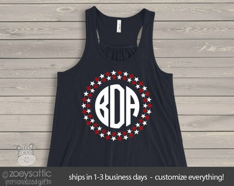 Monogramed womens flowy tank top- perfect for July 4th festivities - SFJ-001v