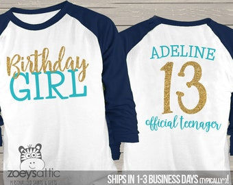 Thirteenth Birthday Girl Glitter Shirt