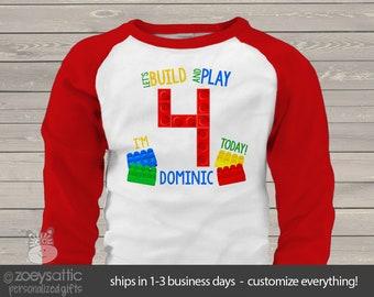 Birthday shirt building blocks let's build and play boy or girl personalized raglan birthday Tshirt MBD-112-r