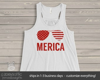America stars and stripes merica flowy tank top- perfect for July 4th festivities  SNLJ-003-f