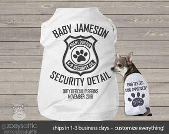 Big brother or sister dog shirt - big brother to be security detail pregnancy announcement dog Tshirt MSMP-028