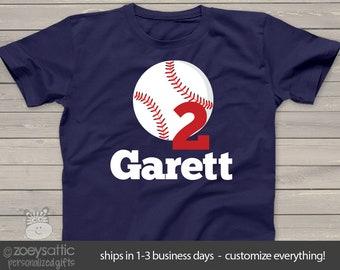 baseball birthday t shirt - or just a cute personalized baseball t shirt MBD-079d