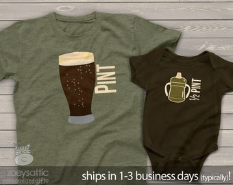pint half pint matching t-shirts | dad baby father son matching shirts father's day shirt set | first father's day shirts SIPPY MDF1-009v
