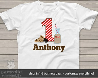 First birthday shirt - cookies with a side of chocolate milk birthday boy or girl 1st (or any) birthday cookies MBD-113