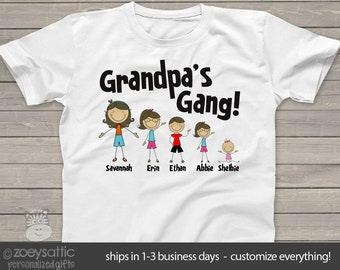 Personalized grandpa or dad stick figure family Tshirt MGPG