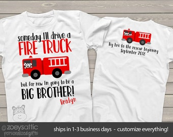 bdd21bc9 big brother shirt firetruck FRONT/BACK perfect pregnancy announcement for  the fireman big brother to be MTRAN-010