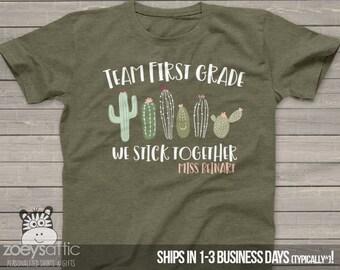 9a10a340c Teacher shirt | team teacher shirts | back to school shirts | teachers team  any grade cactus stick together DARK shirt MSCL-141
