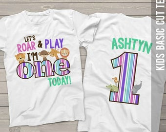 zoo / jungle theme girl first 1st birthday shirt - let's roar and play i'm one today lion tiger giraffe elephant alligator shirt MBD-024-g