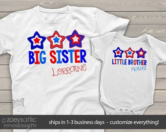 July 4th two sibling shirt set   red white blue stars big sister little brother shirts   matching brother sister shirt set  SNLJ-021-set