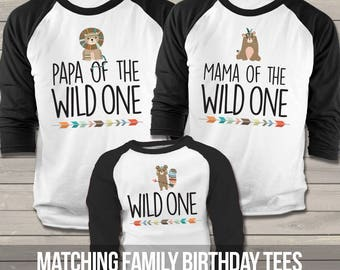wild one birthday party - matching shirt set for parents and first birthday boy or girl MBD-032