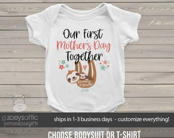 mothers day   first mothers day sloth bodysuit   first mothers day together baby bodysuit or tshirt  MMGA1-091