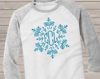 d2f3dc676f8a1 Holiday shirt monogram glitter snowflake personalized ADULT raglan Tshirt -  adorable sparkly monogrammed raglan shirt GSFR