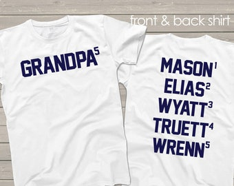 Grandpa shirt - grandpa to nth power personalized with grandkids names on back t-shirt- sweet Father's Day gift for grandpa mdf1-043