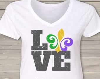 Mardi Gras fleur de lis love womens Vneck shirt - perfect for parades and Fat Tuesday LFDLP