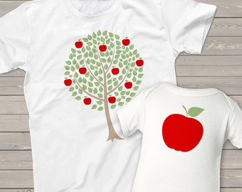 Matching parent baby / kid shirts - apple doesn't fall far from the tree - perfect for moms and dads to match baby or kiddo MMGA1-027