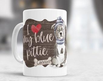 pit bull lover gift | blue pit bull coffee mug | i love my blue pit bull blue pittie  mug | pit bull gifts | pitbull coffee mug MDM-001