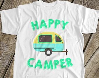 29d4dc0e7248 happy camper - kids camping shirt - fun vacation tshirt summer camp MCMP-001